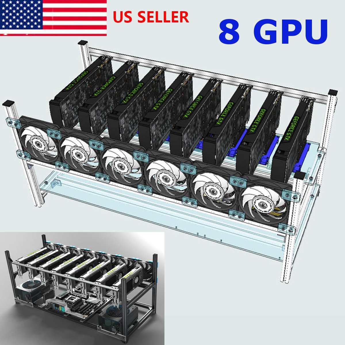New 8 GPU Open Air Miner Mining Frame Case Mining Coin Ring Support Bracket Case Holder Rack For FRAME