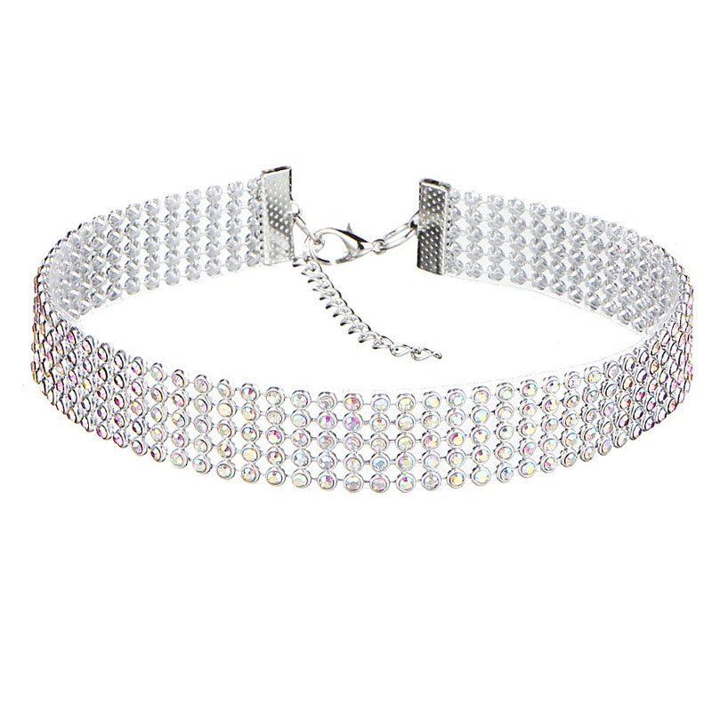 NEW Crystal Rhinestone Choker Necklace Women Wedding Accessories Silver Color Chain Punk Gothic Chokers Jewelry Collier Femme 3