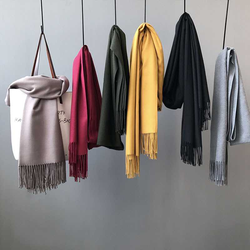 2020 autumn women's winter scarves, imitation cashmere solid color thick caramel colourscarf female warm shawl, палантин женский
