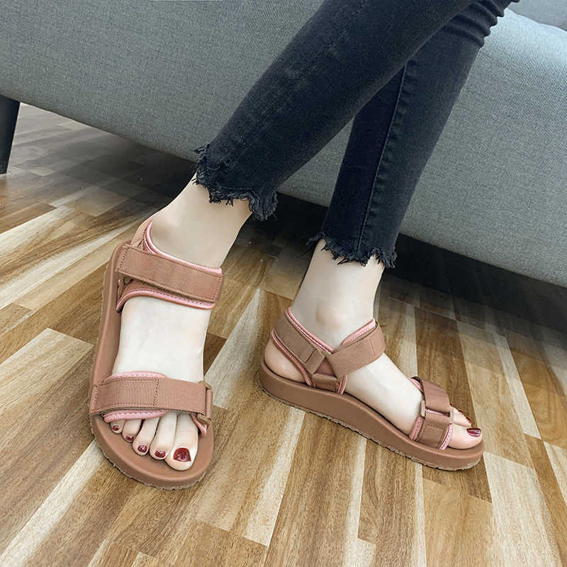Летние пляжные сандалии для женщин, резиновые уличные сандалии, женские Прочные Женские прогулочные туфли, женские спортивные сандалии на липучке