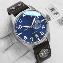 leather Luxury fashion brand men Automatic Mechanical pilot Stainless Steel Mens