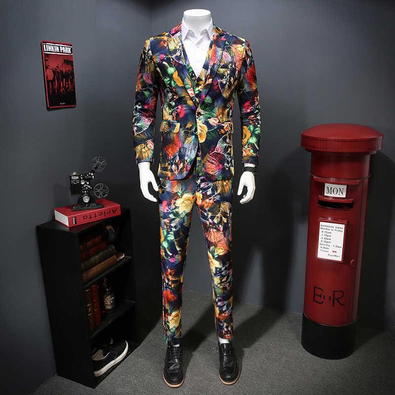 3 sztuka garnitur mężczyźni Night Club kostium sceniczny piosenkarki Homme Tuxedo moda 2020 nowy wiosenny kwiat wydruku Slim dopasowana sukienka garnitury dla mężczyzn
