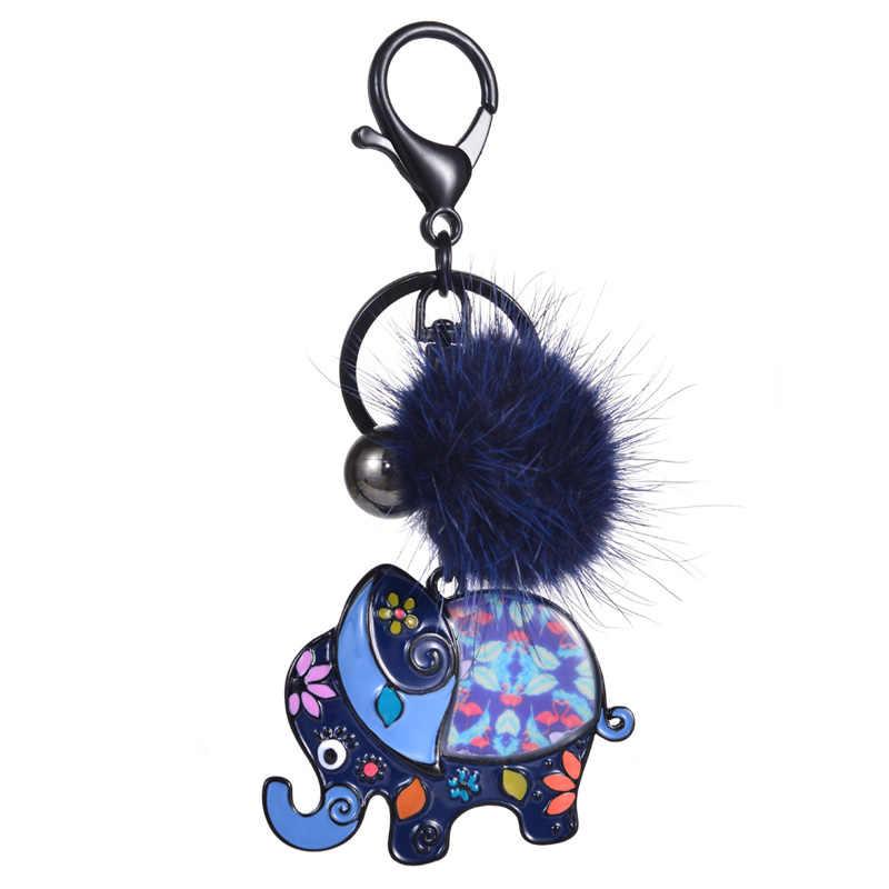 D & Rui Jóias Elefante Bonito Chave Do Carro Anéis Chaveiros para Bolsas das Mulheres Menina Homens Mais Novo Esmalte Animais Pompom keyring