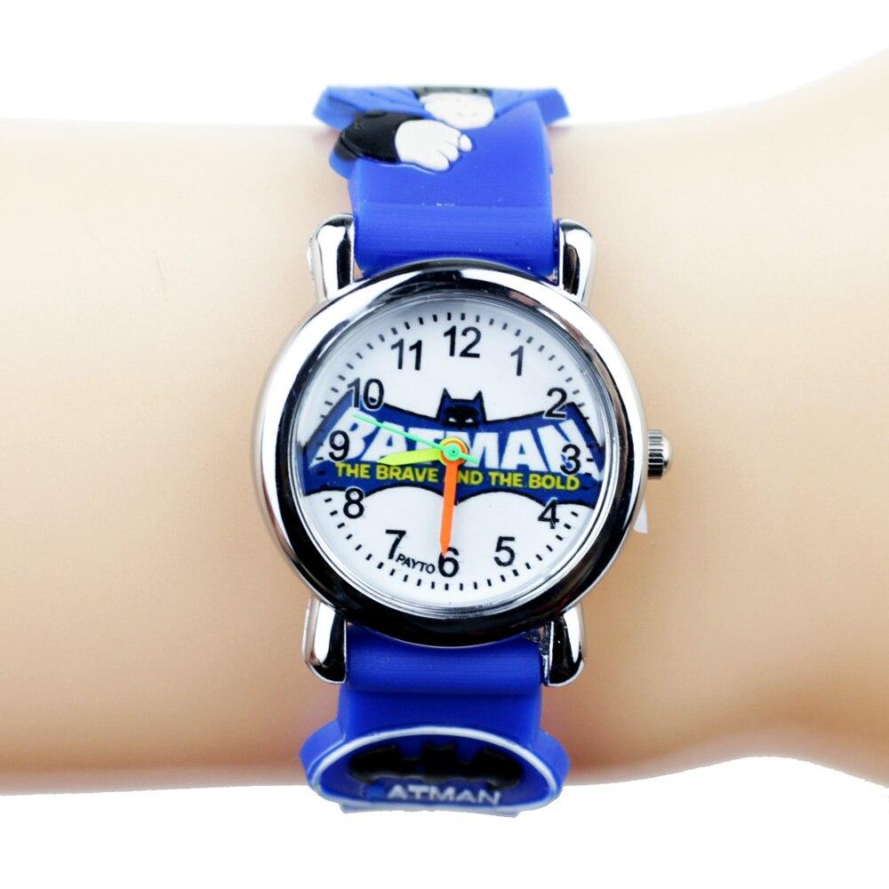 3D Rubber Strap Cartoon Batman Children Watches For Kids Quartz Wristwatch Gift For Boys Clock Montre Enfant Reloj Infantil