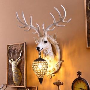 Image 4 - Deer Antler industrial design vintage wall lamp For Farmhouse Kitchen Bar wall decor light Background Bedside horn Lamp Fixtures