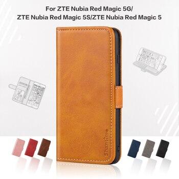 Перейти на Алиэкспресс и купить Чехол для ZTE Nubia Red Magic 5G чехол Роскошный кожаный чехол с магнитом для ZTE Nubia Red Magic 5S Nubia Red Magic 5 чехол для телефона