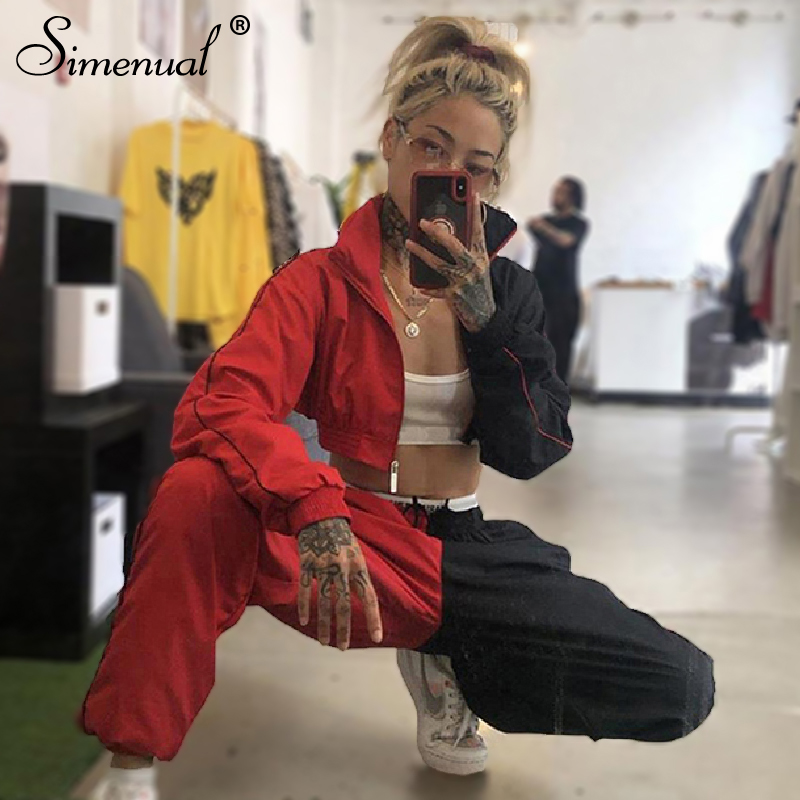 Simenual Sporty Casual Women Tracksuits Patchwork Fashion 2019 Workout 2 Piece Sets Long Sleeve Color Blocking Top And Pants Set