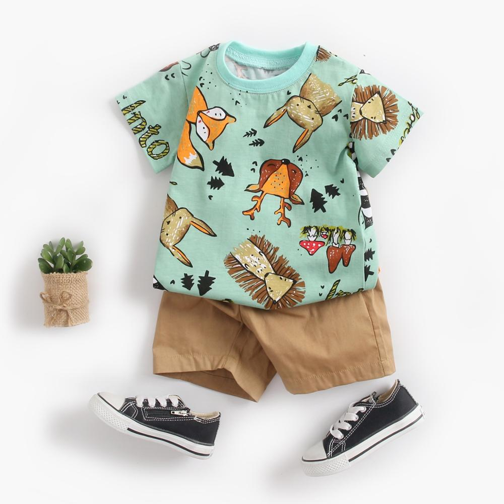 Sanlutoz Cute Infants Boys Clothing Sets Cotton Short Sleeve Baby Tops + Shorts 2Pcs Newborn Cartoon Clothes