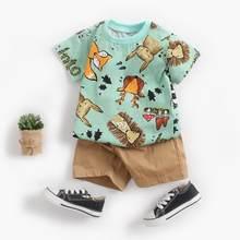 Sanlutoz bonito crianças meninos conjuntos de roupas algodão manga curta bebê tops + shorts 2 pçs recém-nascido dos desenhos animados roupas