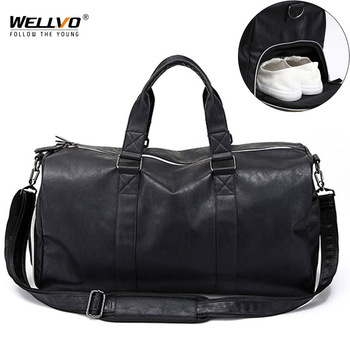 Male Leather Travel Bag Large Duffle Independent Shoes Storage Big Fitness Bags 1