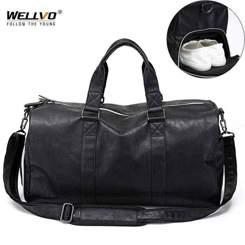 Male Leather Travel Bag Large Duffle Independent Shoes Storage Big Fitness Bags Handbag Bag Luggage Shoulder Bag Black XA237WC|Travel Bags| - AliExpress