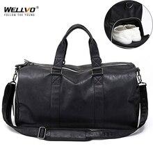 男性革トラベルバッグラージダッフル独立した靴収納ビッグフィットネスバッグハンドバッグ袋の荷物ショルダーバッグ黒XA237WC
