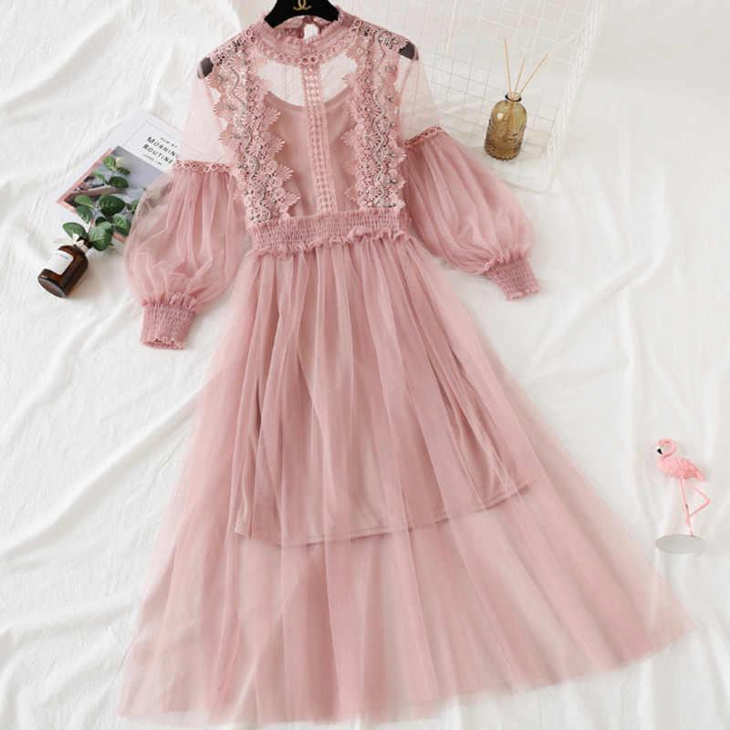 Модная новинка, летняя модная женская одежда, кружевная вышивка, рукава-фонарики, сетчатый лоскутный пуловер, длинное платье WH15711L