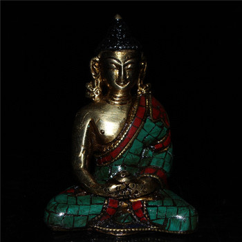 China old Beijing old goods Seiko Nepalese Green Pine Inlaid Pure Copper Buddha Decoration statue