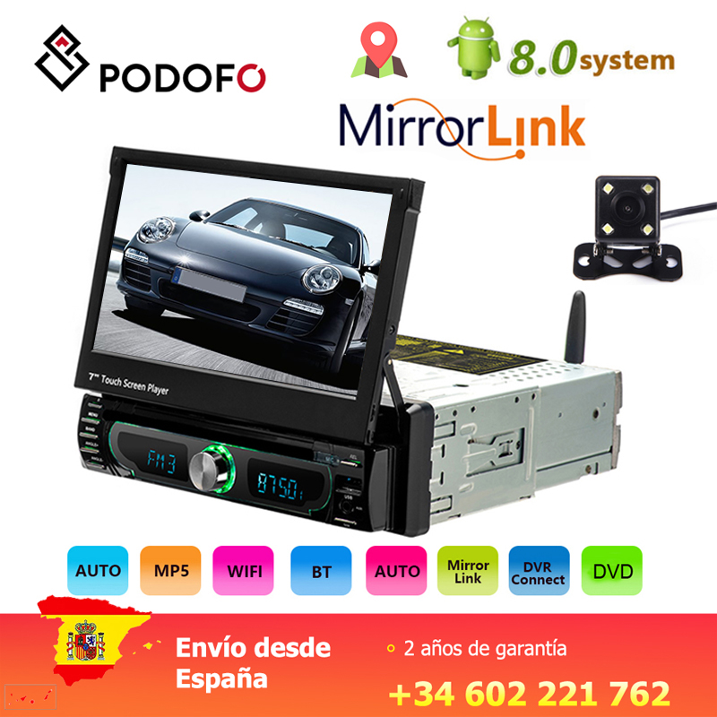 Podofo 1 din Android Car Multimedia Player Wifi Car Radio Stereo GPS Navigation Universal CD/DVD Player retractable screen angle image