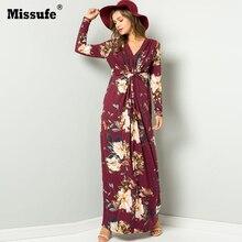 Missufe Retro Vintage Floral Printed Long Dresses Vestidos Long Sleeve V-Neck High Waist Loose Boho Beach Maxi Dress 2019 Autumn retro v neck long sleeve printed long dress