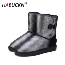 HABUCKN Fashion High Quality Women Snow Boots Warm Boots Fur Winter Boots Genuine Leather Women large size boots black Female aiyuqi genuine leather female winter boots full cowhide waterproof wool lined fashion women booties female bare black boots