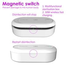 Esterilizador UV profesional, caja de esterilización para teléfono, batería móvil de carga inalámbrica, herramienta de limpieza, limpiador de teléfonos, desinfección