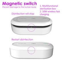 Profesjonalny sterylizator UV telefon pojemnik sterylizacyjny bezprzewodowe ładowanie mobilny powerbank urządzenia do oczyszczania telefonów Cleaner dezynfekcja