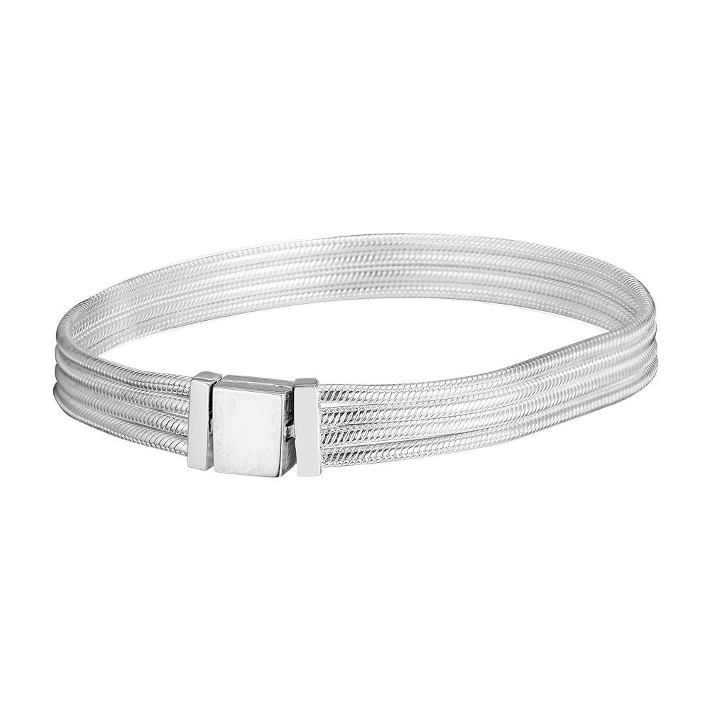 Reflexions Multi Snake Chain Bracelet 925 Sterling Silver Jewelry Fashion Bracelets For Woman DIY Fashion Jewelry Making