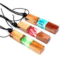 Hot Selling Handmade Resin Wood Pendant Necklace Wooden Vintage  Fashionable Transparent rotating pattern