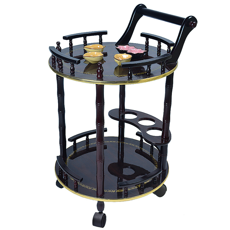 Wooden Wine Cart Snack Car Food Cart Hotel Cart Mobile Dining Car Cake Car Home Rack European Style