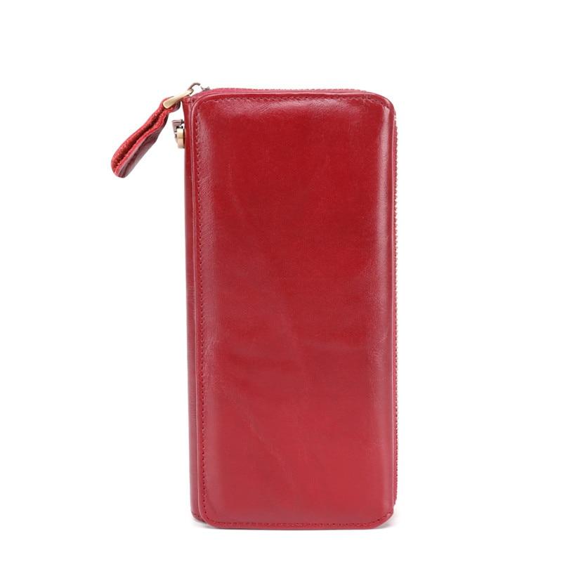 Женские кошельки из натуральной кожи, кошелек на молнии для монет, женские сумочки, кошелек для денег, карт, ID, сумки, кошельки с карманами - Цвет: 9376 red