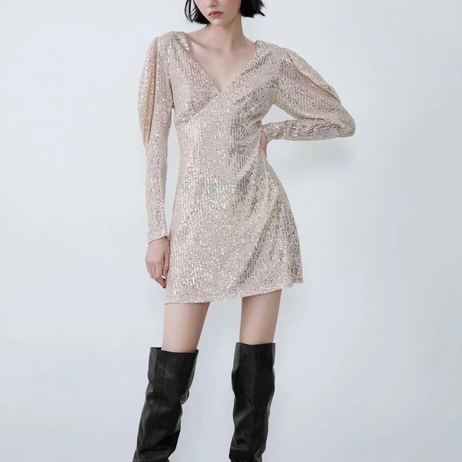 ZA damska sukienka z cekinami seksowna elastyczna głębokie v neck bufiaste rękawy casual fashion stretch dopasowana błyszcząca sukienka damska