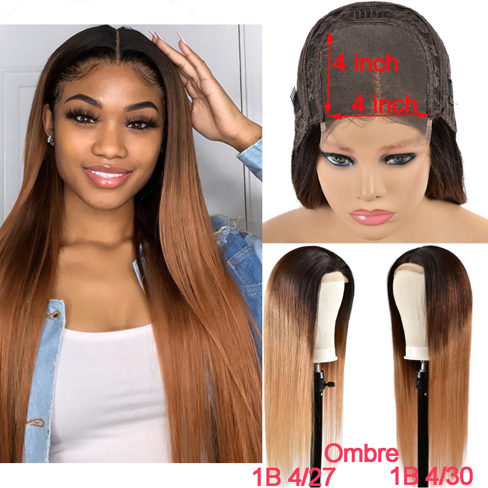 Ombre 4x4 Lace Closure Wig Brazilian Straight Swiss Lace Closure Pre Plucked Glueless Highlight Wig Remy Human Hair For Women