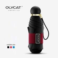 OLYCAT Tasca Mini Sun Ombrello Anti UV Cinque Pieghevole Ombrelli Da Pioggia Donne Parasole di Marca Protezione Solare Parasole Fibra di Vetro Paraguas