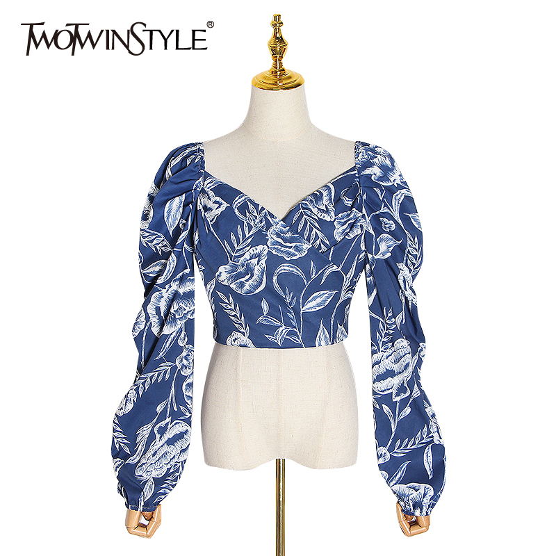 TWOTWINSTYLE Elegant Print Blouses Women Square Collar Lantern Long Sleeve Tunic Ruched Shirts Female Clothing 2020 Fashion Tide