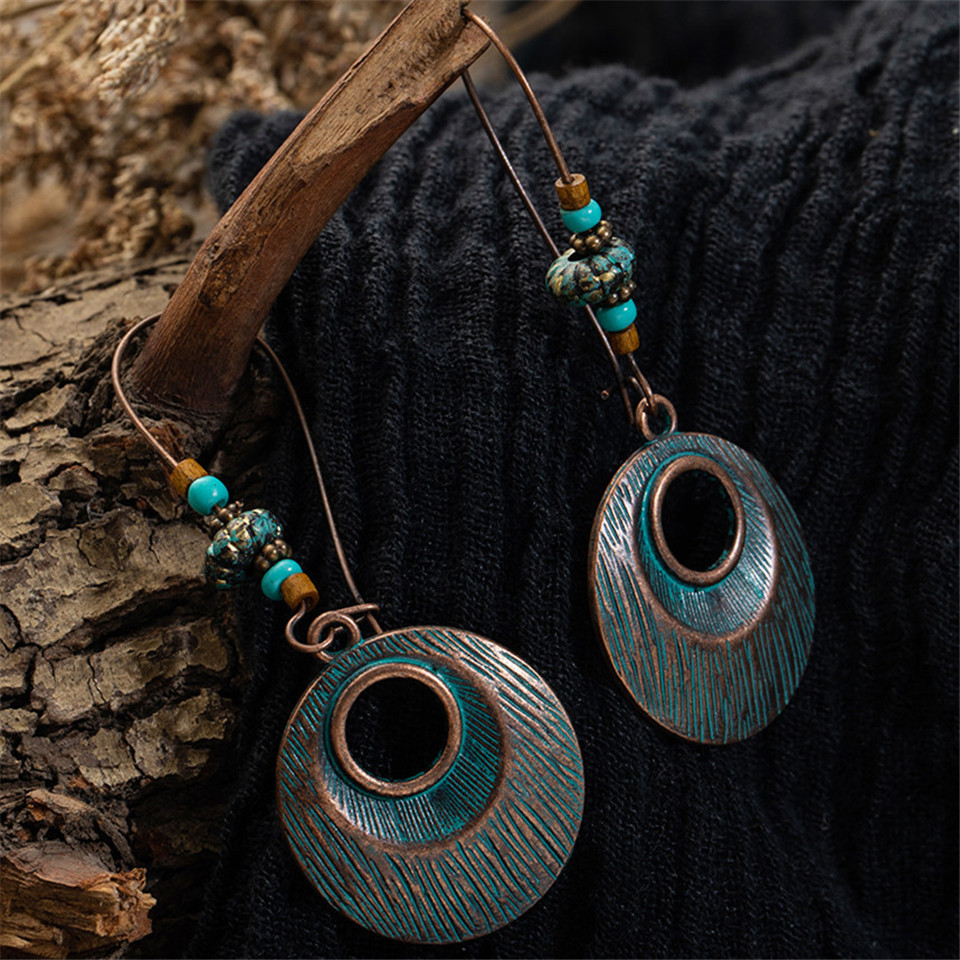 Bohemia Vintage Charm Hollow Round leaf Dangle Earring for women Ethnic Water droplets Women 39 s earrings 2019 jewelry New in Drop Earrings from Jewelry amp Accessories