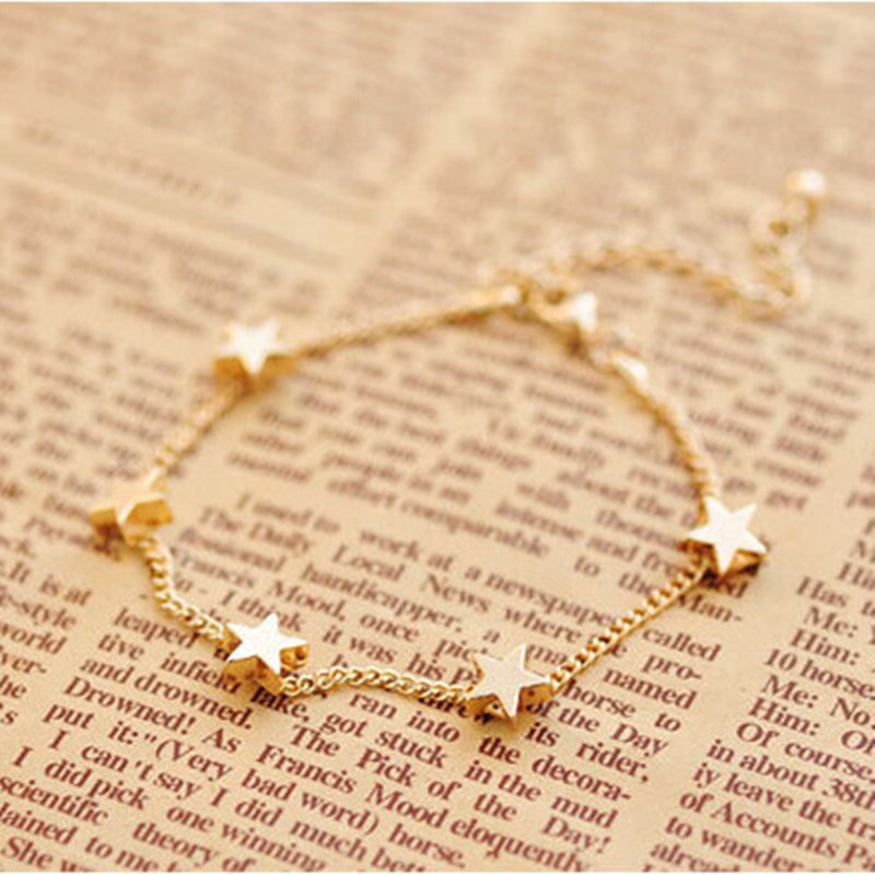 New Lady Girls Bangle Simple Gold Filled Chic Heart Trendy Stars Fine Chain Bracelet Cuff Jewelry Party Gifts Pulseras Mujer