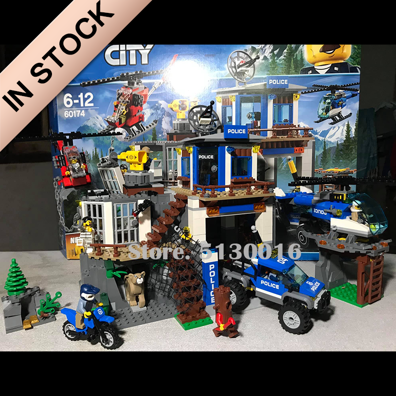 In Stock 02097 02078 Mountain Police Headquarters City Series Bus Station Passenger Train Building Blocks Model 02018 02017