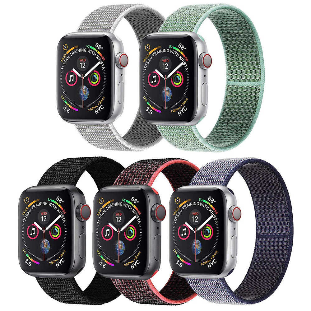 Nylon watch strap For Apple Watch Series 3 2 1 38MM 42MM band Breathable Replacement Sport Loop for iwatch series 5 4 44MM 40MM