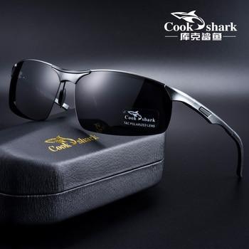 Cook Shark 2020 new aluminum magnesium sunglasses mens HD polarized driving driver glasses tide