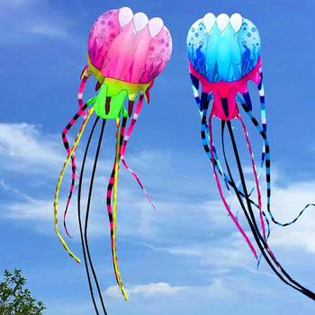 free shipping high quality new 3d kite jellyfish soft kite nylon ripstop with handle line outdoor toys large kite surf octopus 30m beach kite flying single line octopus kite tube shaped soft kite 3d ripstop nylon fabric