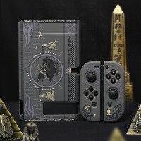 Funda protectora para consola Nintendo Switch y Joystick soporte negro, carcasa rígida con abertura trasera para consola de Nintendo Switch