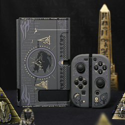 Protective Split Shell Mysterious Egypt Pharaoh Case Hard Cover Back PC Girp For Nintend Switch Console & Joystick Black Holder