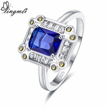 Lingmei Graceful Goodly Fashion Wedding Band Jewelry Blue Zircon Silver Ring for Men Size 6 7 8 9 Vintage Wholesale New Ring(China)