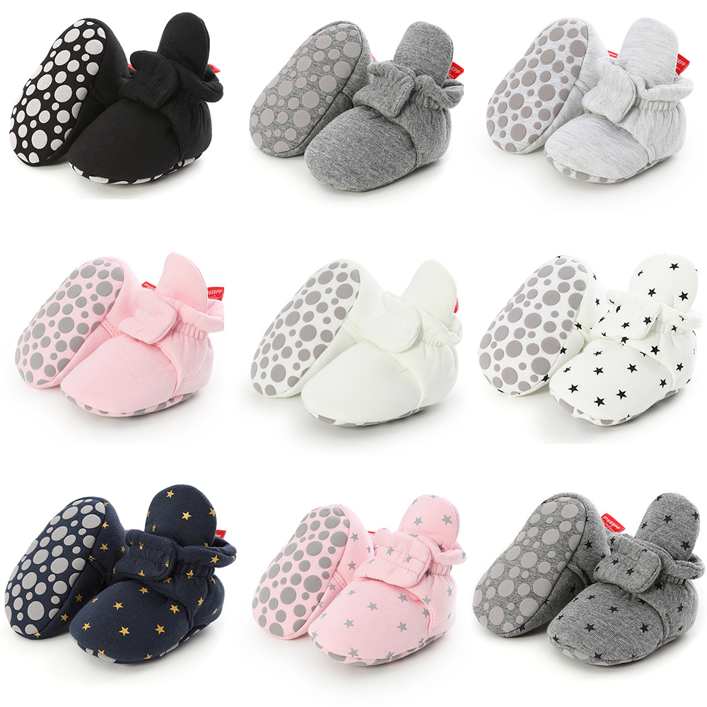 Hot Sale Cotton Comfortable Soft Sole Baby Cute Socks Shoes Star Toddler First Walkers Warm High Booties Warm Infant Crib Shoes