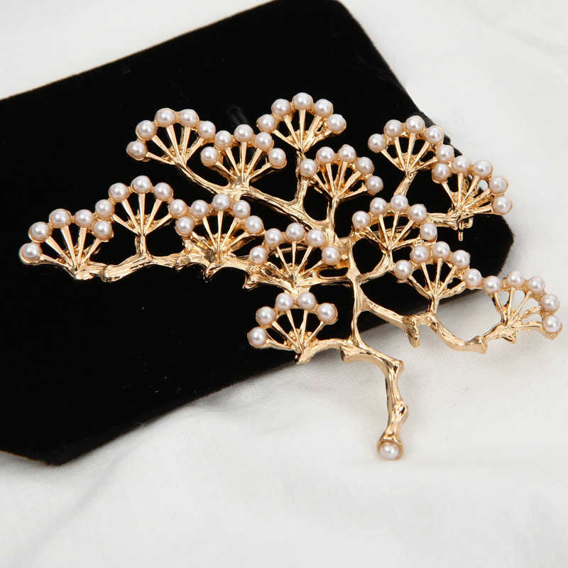 IYOE Vintage Jewelry Large Simulated Pearl Tree Brooches For Women Unique Antique Christmas Brooch Pins New Arrival Bijoux