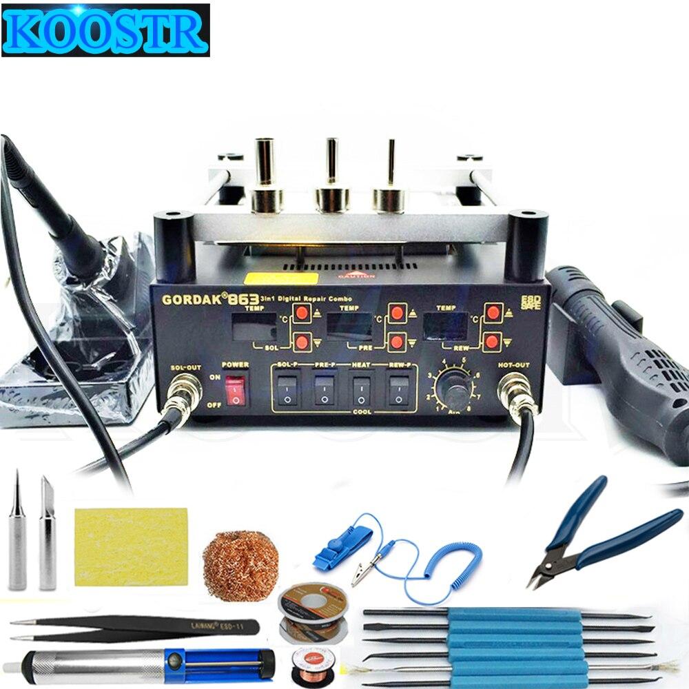Hot Air Heat Gun GORDAK 863 3 In 1 BGA Rework Solder Station + Electric Soldering Iron + IR Infrared Preheating Station