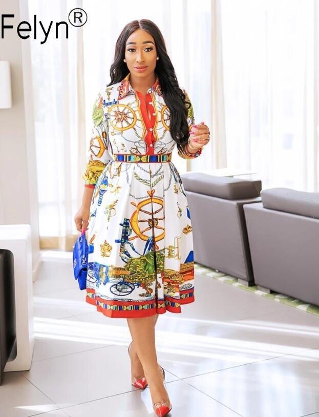 Felyn 2020 лучшее качество модный дизайн платье-рубашка Королевский роскошный принт отложной воротник ТРАПЕЦИЕВИДНОЕ офисное дамское платье м...