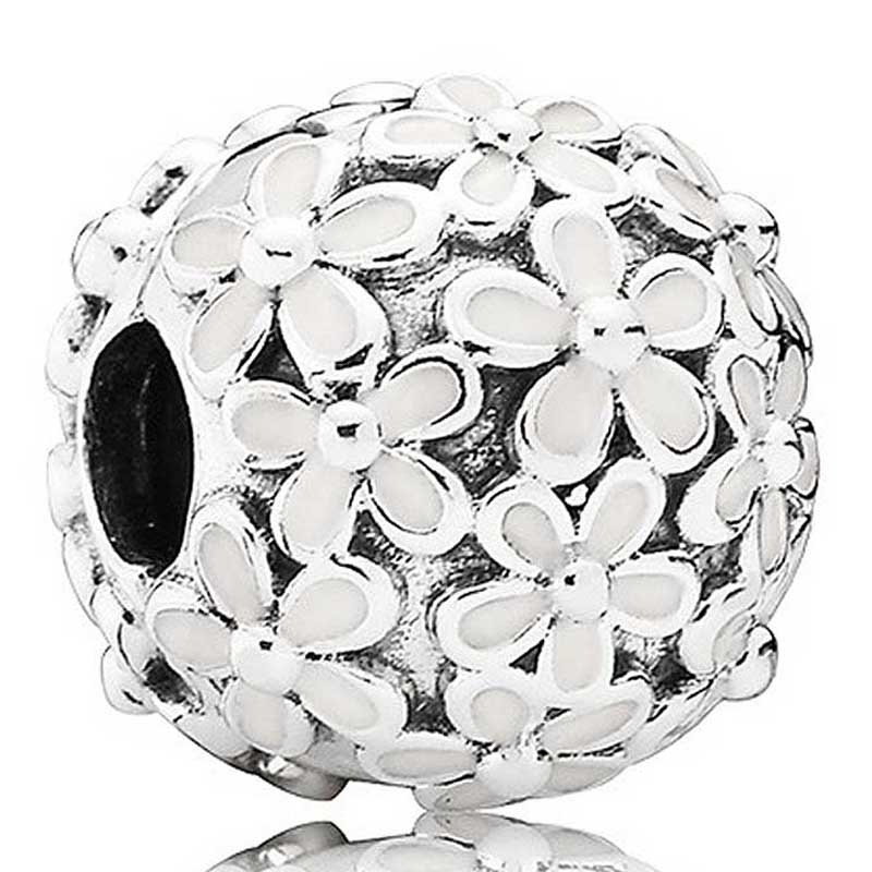 Original White Enamel Daisy Meadow Clip Stopper Beads Fit 925 Sterling Silver Bead Charm Pandora Bracelet Diy Jewelry(China)