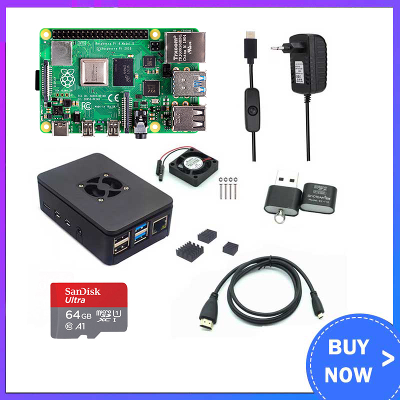 Raspberry Pi 4 Model B 2/4GB RAM + Case + Fan + Heat Sink + Power Adapter + 32/64 GB SD Card +HDMI-compatible Cable for RPI 4B