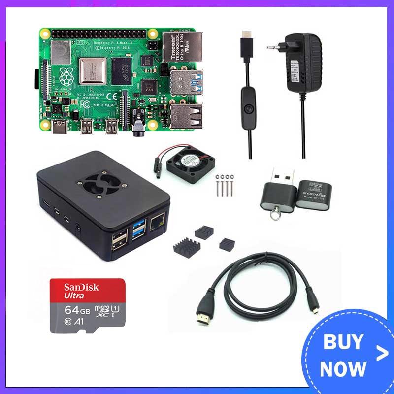 Raspberry pi 4 modelo b 2/4gb ram + caso + ventilador + dissipador de calor + adaptador de alimentação + 32/64 gb cartão sd + hdmi cabo compatível para rpi 4b
