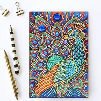 5D DIY Diamant Notebook Pfau Muster Diamant Malerei Tagebuch Buch A5 64 Seiten Ornmant Buch Geburtstag Geschenke Kreuz Stich NB33