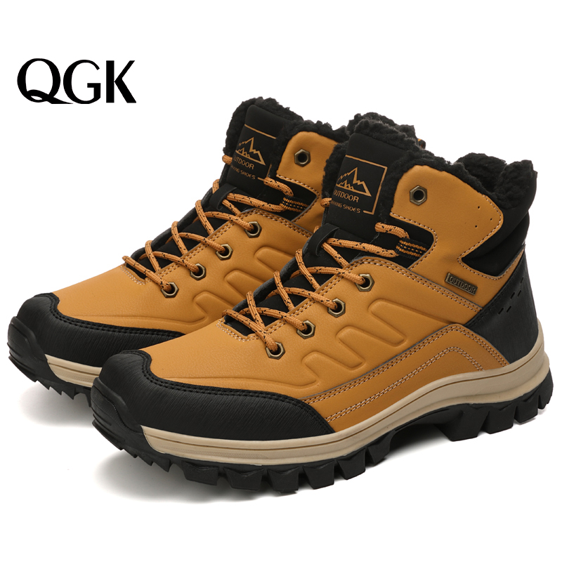 QGK 2019 Winter Men's Boots Outdoor Warm Waterproof Non-slip Ankle Snow Boot Thick Plush Rubber Winter Work Safety Male Shoes