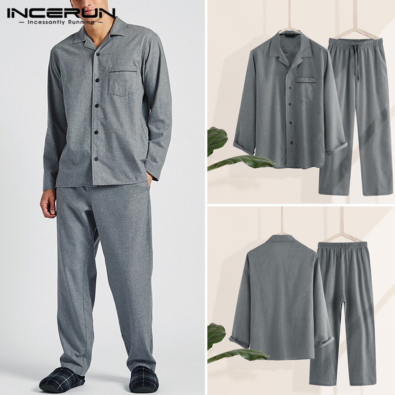 INCERUN Fashion Men Pajamas Sets Men Casual Homewear Lapel Long Sleeve  Shirt Long Pants Sets Solid Color Sleepwear S-5XL